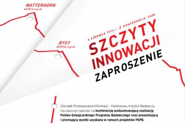 """Zapowiedź konferencji """"Szczyty innowacji – konferencja podsumowująca PSPB"""""""